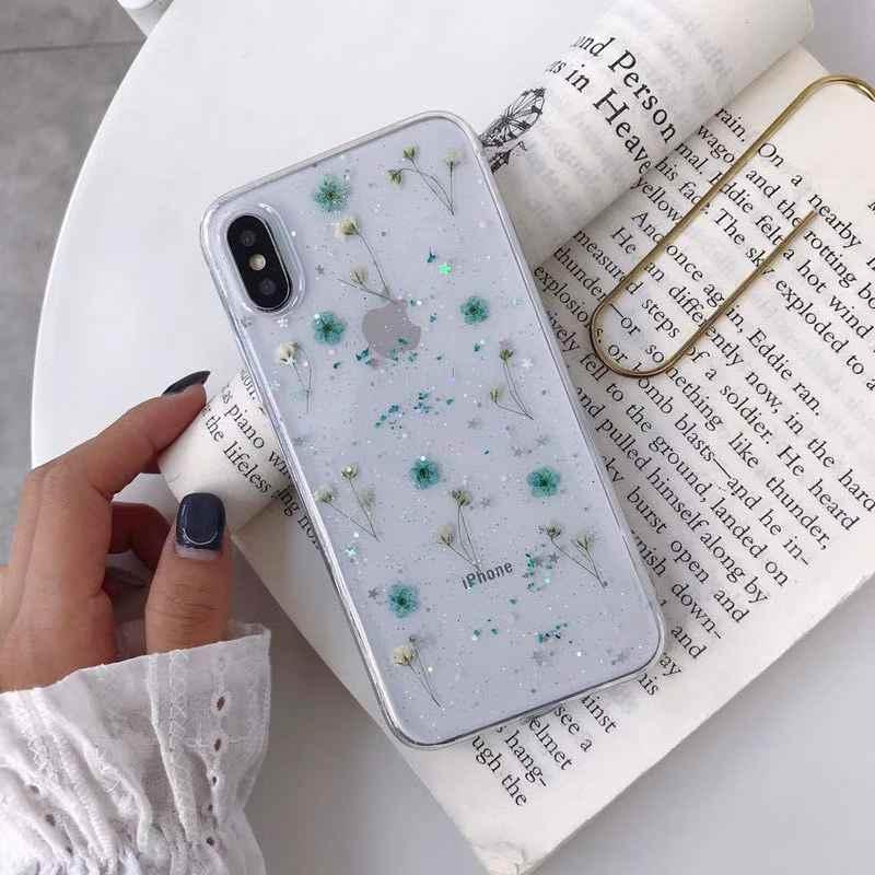 Kering Bunga Nyata Buatan Tangan Jelas Ditekan Ponsel Case untuk iPhone 6 6S 7 7 Plus X XS Max XR 11pro Max Case Lembut TPU Back Cover Capa