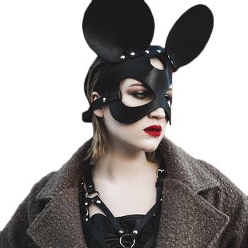 UYEE skórzane kocie oczy maski Punk Sexy Cosplay Bunny erotyczne maski dla kobiety gotyckie uprząż dla dorosłych zagraj w specjalny kostium imprezowy maska tanie i dobre opinie Unisex Kostiumy Leather Mask Skóra syntetyczna Garters WOMEN Sexy Cosplay Rabbit Bunny Masks Face Cat Leather Mask bondage belt fetish