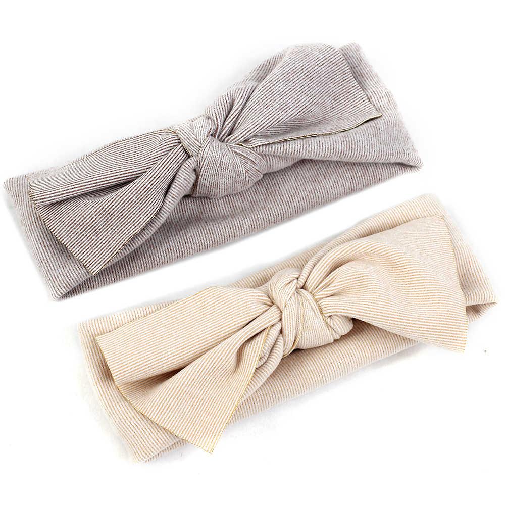 Geebro cor sólida grande bowtie criança bandana algodão adorável listra bebê menino meninas hairband bonito recém-nascido crianças acessórios de cabelo