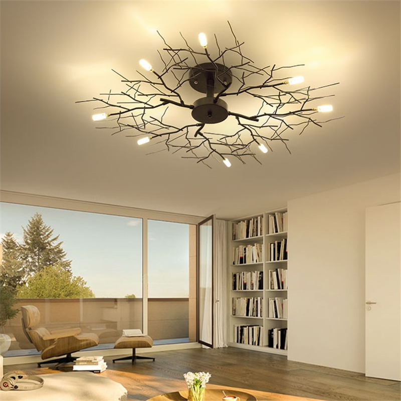 American LED Ceiling Lamp Nordic Tree Branch Iron Ceiling Lights For Living Room Bedroom Chandeliers Ceiling Decor Light Fixture