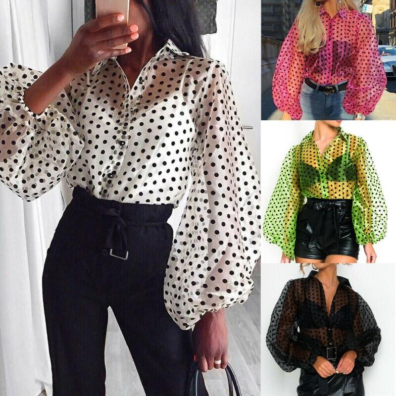Newly Women Lady Shirts Polka Dot Mesh Sheer See-through Lantern Long Sleeve Tops Blouse Tee Loose Shirts