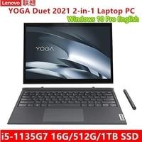 Lenovo Yoga Duet 2 en 1-ordenador portátil de alta gama, tableta táctil 2K de 13 pulgadas, teclado i5-1135G7, 16GB, 2021 GB, SSD, ThunderBolt4, 512