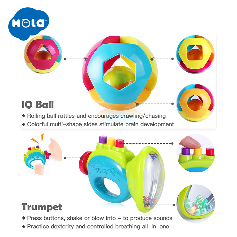 Baby Grasping Rattle with Infant Teether,Massaging Sore Teething Gums,Intelligence Rattles Teething Toy Games Ball Shaker Musical Sounds Play Gift for Over 3 Months Old Newborn Boys Girls Kids 1 piece