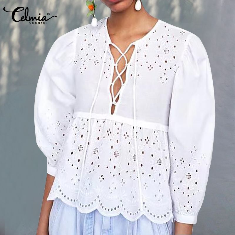 Summer Tops 2020 Celmia Women Sexy Lace Up V Neck White Lace Blouses Casual Loose Work Ladies Shirts Plus Size Blusas Femininas