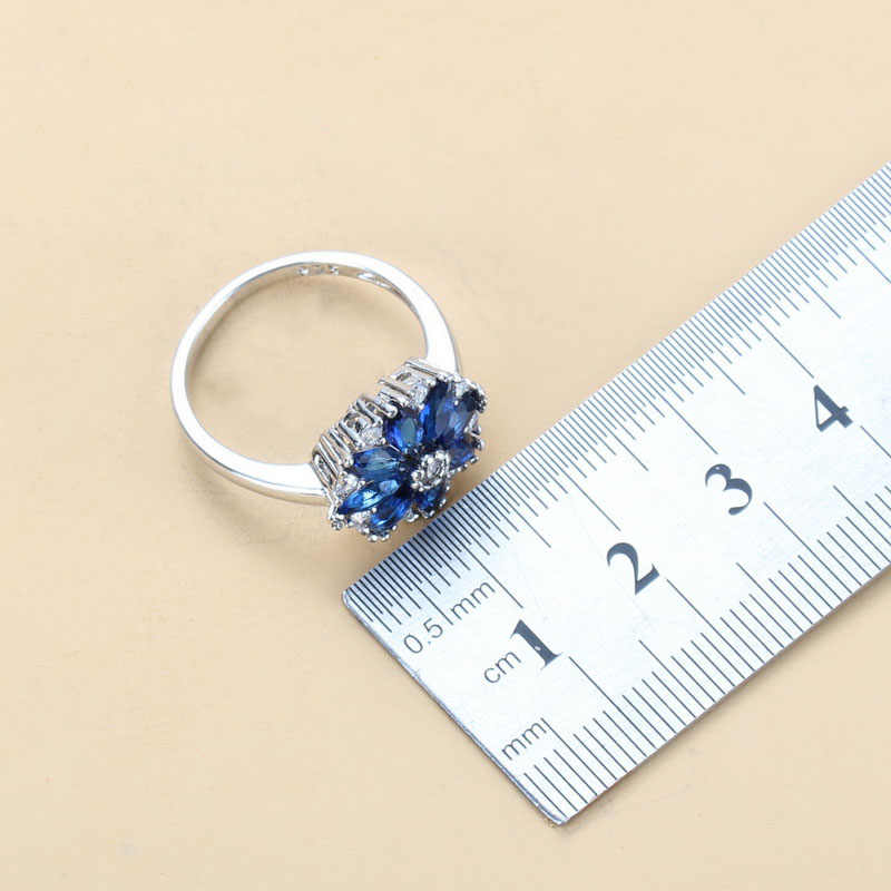 Flor traje 925 prata esterlina pedra natural cz azul conjuntos de jóias para mulheres brinco colar e anel conjuntos de noiva