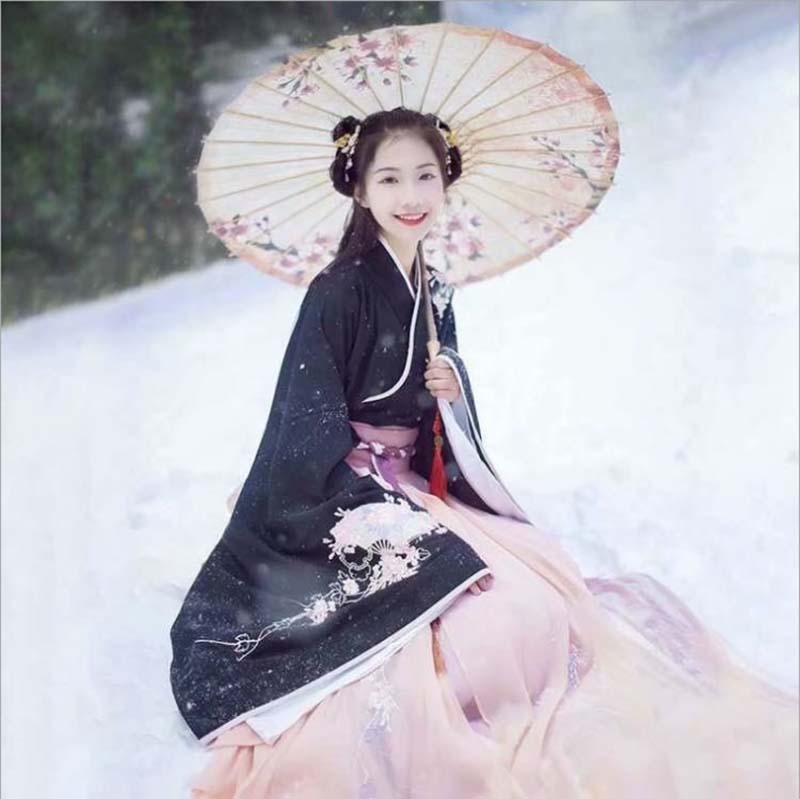 Women Hanfu Chinese Ancient Tradition Dress Hanfu Fantasia Women Carnival Cosplay Costume Outfit Hanfu Black For Lady Plus Size
