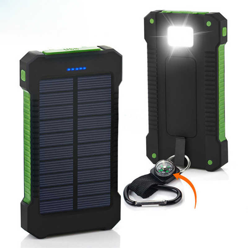 Tragbare Solar Power Bank 20000 mah Wasserdichte Externe Batterie Backup Power 20000 mah Telefon Batterie Ladegerät LED Pover Bank