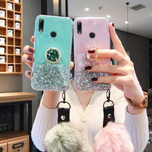 Glitter Fur Ball Case for Huawei Y7A Y6P Y8S Y7P Y5p Cases Silicon Etui Y5 Y6 Y7 Pro Y9 Prime 2019 Phone Crystal Holder Cover