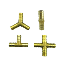 Brass Barb Pipe Fitting 3 4 Way T Y Straight Elbow Hose Barb 6 8 10 12 14 16 19mm Copper Barbed Connector Joint Coupler Adapter