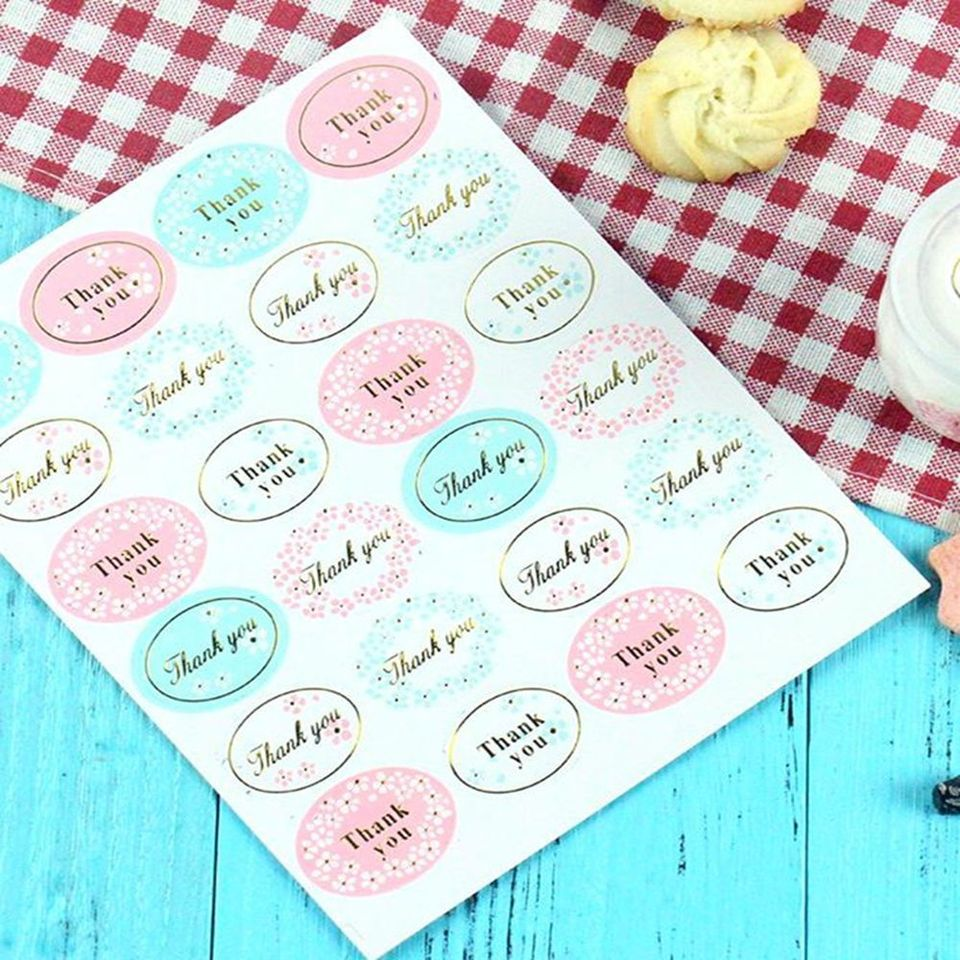 2x Golden THANK YOU Oval Stickers Labels Sealing Wedding Party Favors FS
