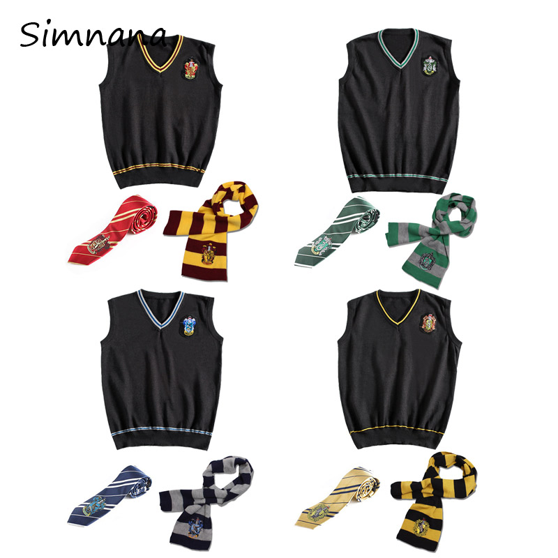 Hermione Potter Cosplay Gryffindor Slytherin Ravenclaw Hufflepuff Sweater With Tie Waistcoat all-match Daily Potter Costumes