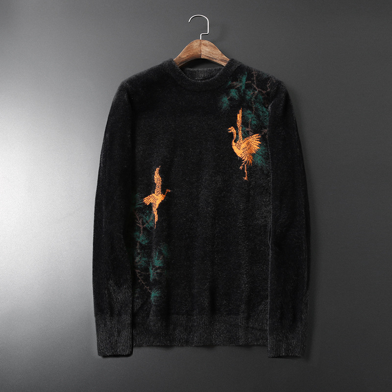 New 2019 Men Luxury Winter Classic Yellow Crane Embroidered Casual Sweaters Pullover Asian Plug Size High Quality Drake #N104