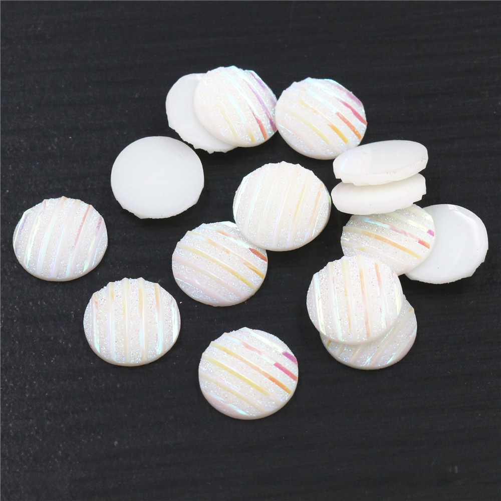 New Fashion 40pcs 12mm White AB Scrub Stripe Horizontal Line Flat Back Resin Cabochon For Bracelet Earrings Accessories