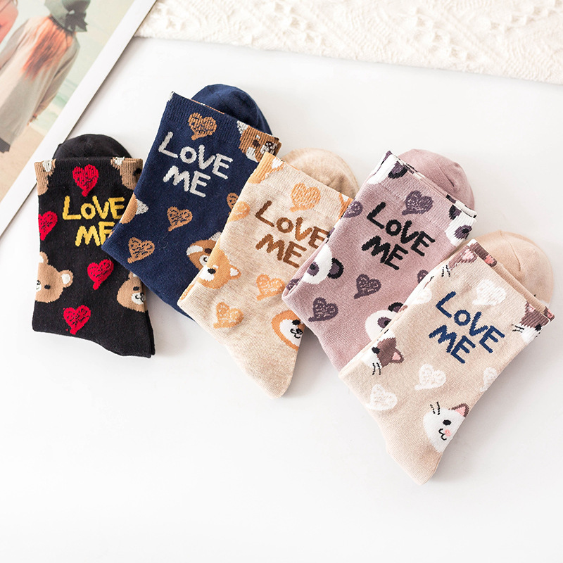 Women Lovely Cartoon Animal Patterned Socks Female Cute Original Casual Cotton Socks College Style Joker Comfortable Sox