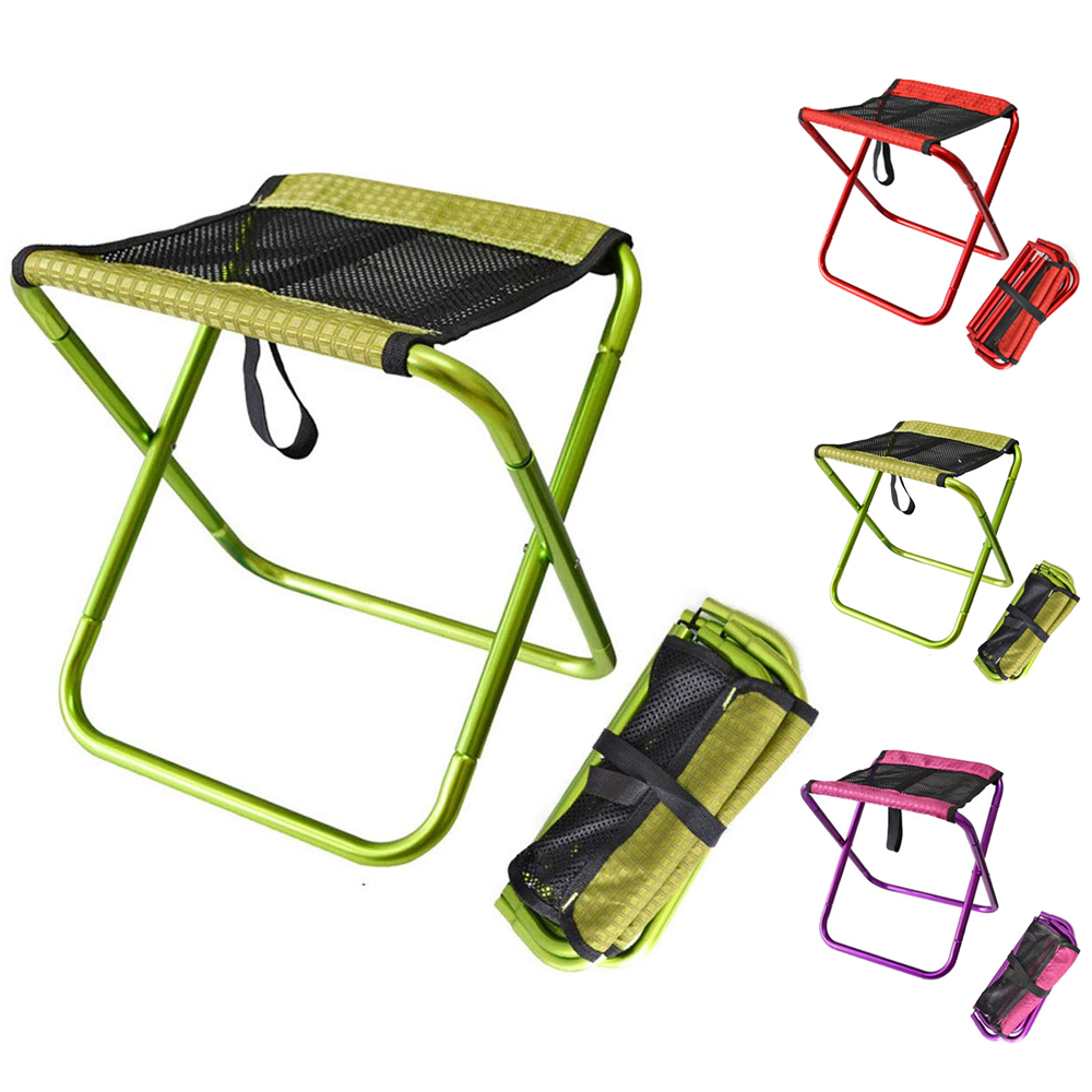 HooRu Camping Folding Stool Portable Outdoor Beach Fishing Stool Lightweight Backpacking Chair With Carry Bag For Hiking Travell