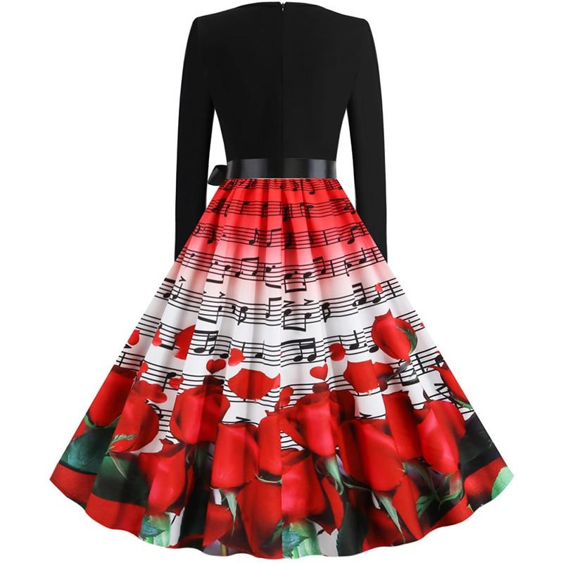 Hudobné párty šaty s dlhým rukávom (MUSIC style) notová osnova a červené ruže 8