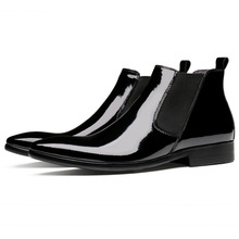 Fashion Men Chelsea Boots Genuine Cowhide Leather Men Autumn Spring Patent Leather Boots Handmade Pointy Ankle Shoes plus size 34 43 genuine leather women shoes fashion leisure spring pointy bling rhinestone flats shoes patent leather crystal