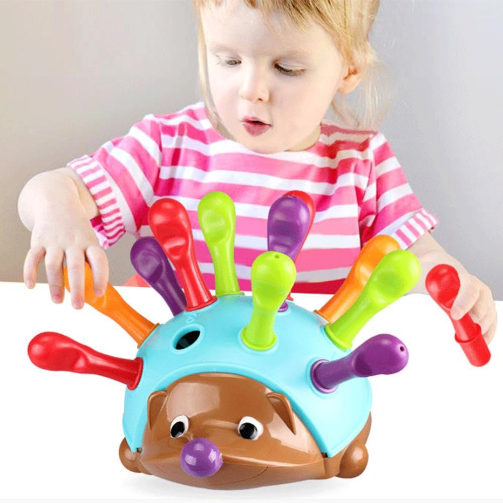 Baby Toys 13 24 Months Hedgehog Sorter Color Stacking Toy For Kids Early Education Learning Interactive Hedgehog Toys Gifts