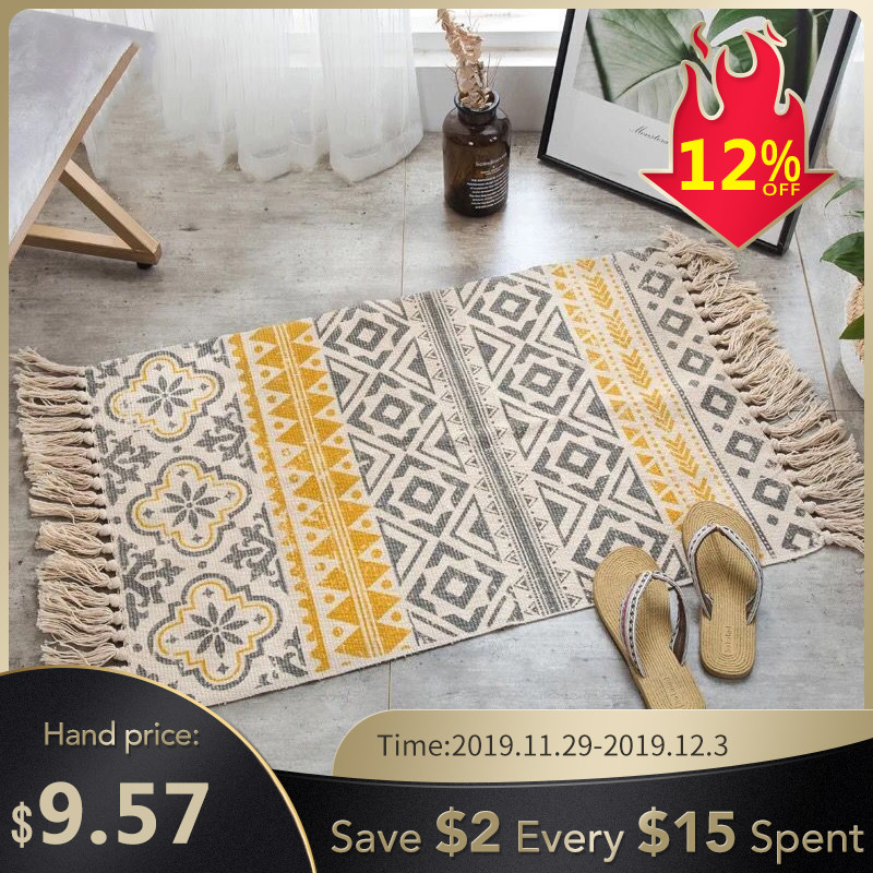 2019New Retro Bohemian Hand Woven Cotton Linen Carpet Rug  Bedside Rug Geometric Floor Mat Living Room Bedroom Carpet Home Decor