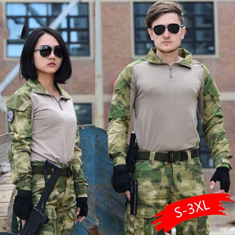 Tactische Camouflage Militaire Uniform Kleding Pak Mannen Us Army Kleding Airsoft Militaire Combat Shirt + Cargo Broek Kniebeschermers