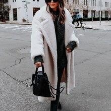 Women Jacket Autumn Fashion Loose Warm Polar Fleece Long Sleeve Lapel Buckle Sol