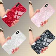 Luxury Marble Plating Tempered Glass Phone Case for Apple