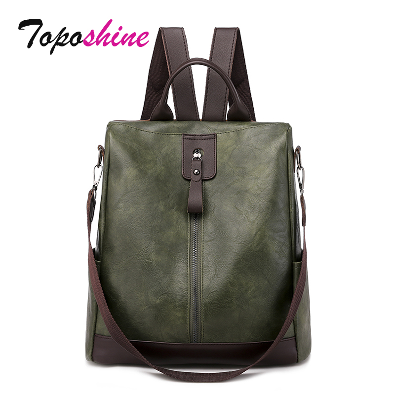 Toposhine Anti-theft Women's Backpack Fashion Simple Solid Color School Bag PU Leather Women Backpacks For Girls Lady Bags