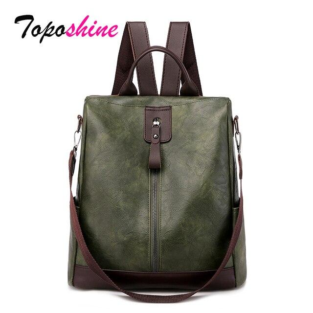 Toposhine盗難防止、女性のバックパックファッションシンプルな無地スクールバッグpuレザーの女性のバックパック女の子女性バッグ
