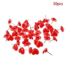 50 Pcs Heart Shape Plastic Quality Pink/Red Colored Push Pins Thumbtacks Office School Supplies C26
