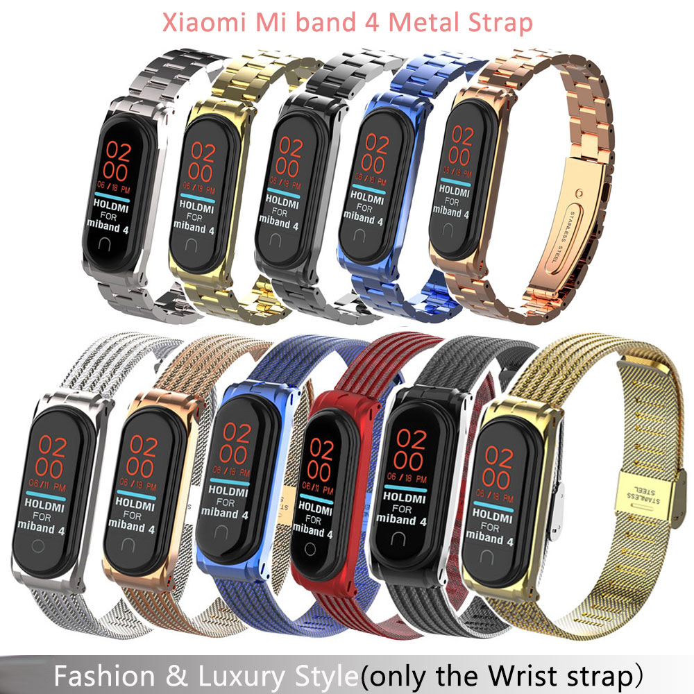 Mi Band 4 Wrist Strap Metal Screwless Stainless Steel For Xiaomi Mi Band 4 Strap Bracelet Miband 4 Wristbands Drop Shipping