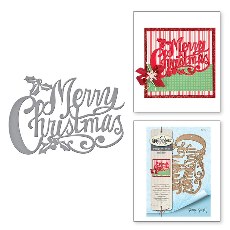 2020 New <font><b>Merry</b></font> <font><b>Christmas</b></font> Letter Words Metal <font><b>Cutting</b></font> <font><b>Dies</b></font> Scrapbooking For DIY Background Decorative Paper Embossing Stencil Card image