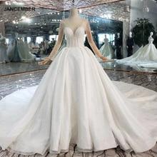 HTL441 перспектива украшенные кристаллами верхние Свадебные платья с пряжкой на спине 2020 Бальные платья с длинными рукавами и v образным вырезом