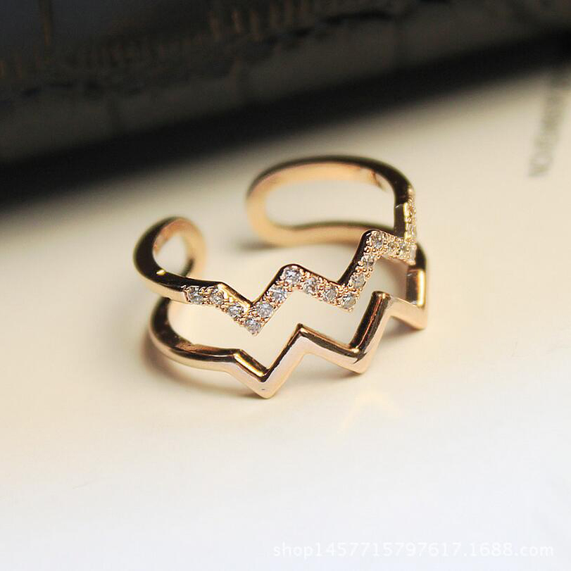 2019 New Fashion Jewelry Double Wave Open Ring For Women Shiny Cubic Zirconia Ring Paved Finger Resizable Rings Wedding