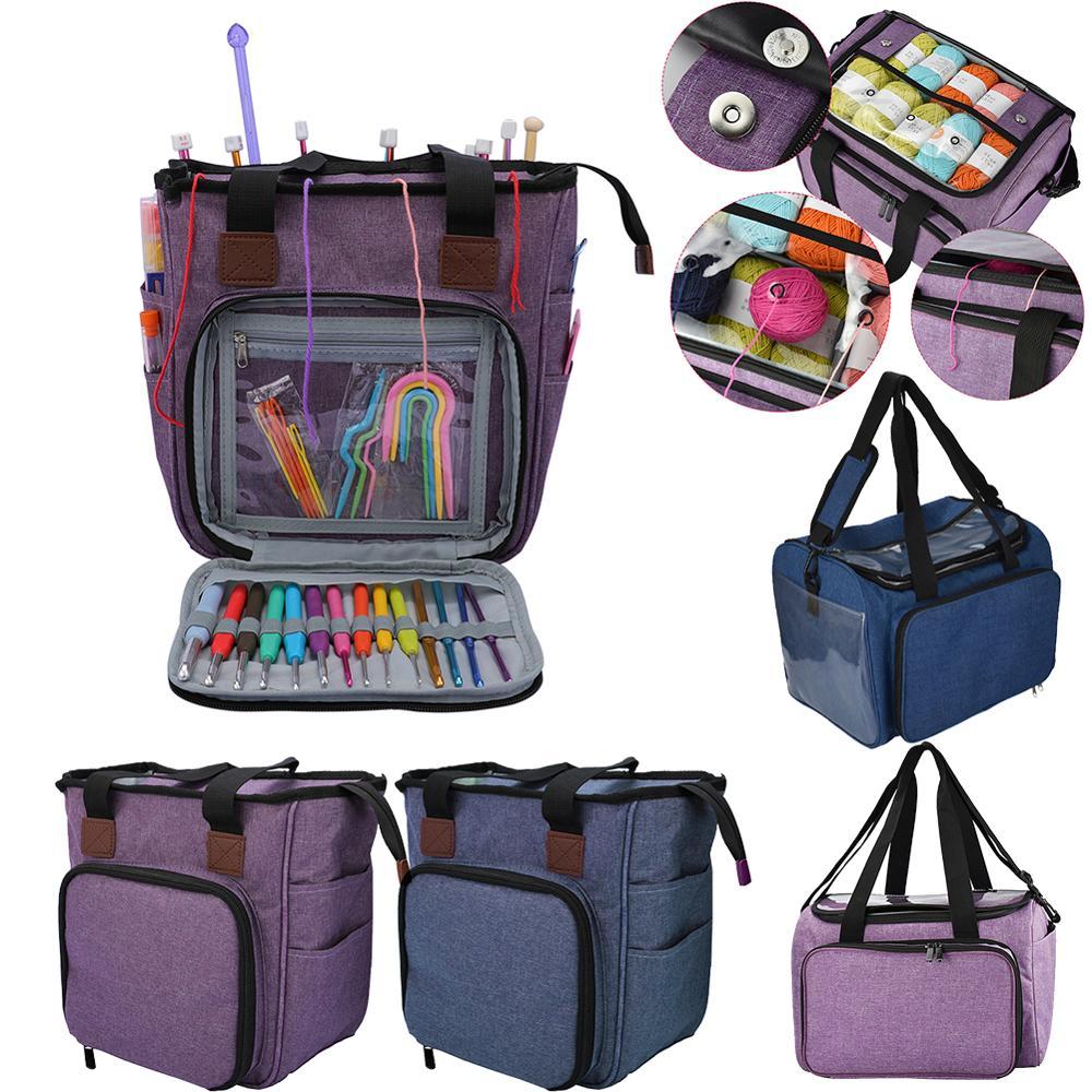 Storage Bag Women Tote Yarn Wool Bag Holder Storage Case For Mom Crocheting Hooks Thread Sewing Accessories Knitting Bag