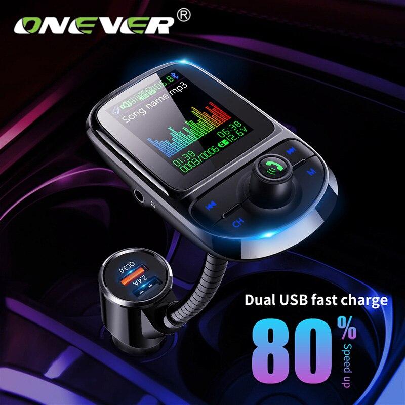 Um Pantalla uma Cor Bluetooth 5.0 Sem Fio Transmissor FM Carro Modulador Mp3 Player QC 3.0 Dual USB carregador de transmissão de Voz