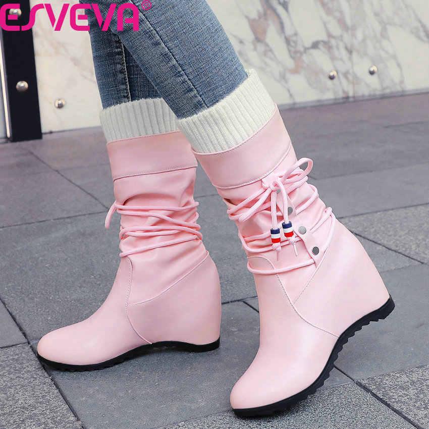 ESVEVA 2020 takozlar kış sıcak kürk kadın ayakkabı PU deri yüksekliği artan yuvarlak ayak dantel kadar kayma orta buzağı çizmeler boyutu 34-43