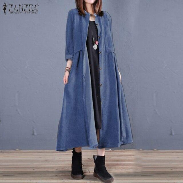Plus Size ZANZEA Spring Long Cardigan Women Casual Solid Long Sleeve Work Denim Blue Shirt Vestido Blouse Outwear Coats Tunic 7