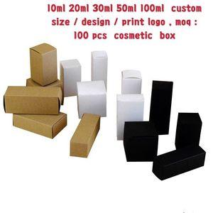 Image 1 - 50 個 100 個クラフト紙用のダンボール箱ジュエリーギフトキャンディ包装カートンボックスギフト石鹸パッケージ包装紙ボックス白