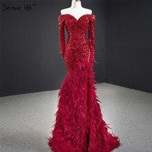 Vermelho fora do ombro sereia sexy dubai vestidos de noite 2020 mangas compridas lantejoulas penas vestido formal sereno hill hm67125