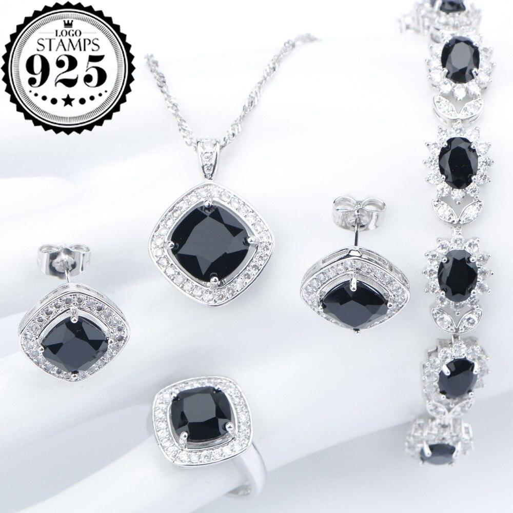 Silver 925 Costume Wedding Black Zircon Jewelry Sets For Women Bracelets Earrings Rings Pendant Necklace Set Jewellery Gift Box