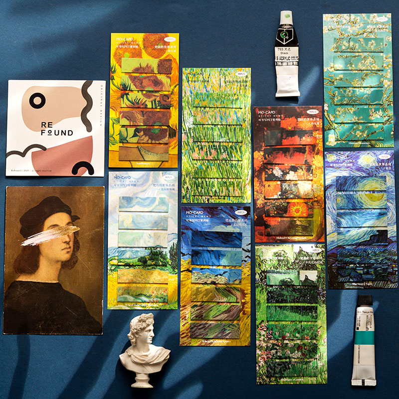 Yoofun 90pcs Vintage Van Gogh Sticky Notes Memo Pad Sticker Posted It Planner Sticker Stationery Notepads Office School Supplies