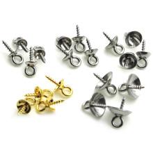 Stainless Steel Screw Eye Pins for Jewelry Making Pearl Beads Eyelets Screw Clasps for Pendant Bail Cap Charm Jewelry Findings