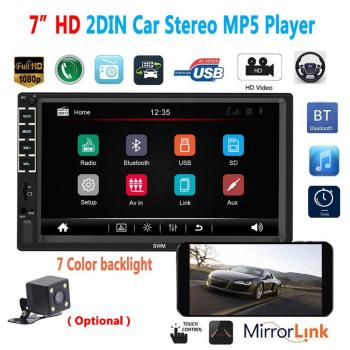 7 Inches 2 Din Car Radio MP5 Player Stereo Receiver Android Auto Radio Car Stereo Audio Radio Mirror Link Support Rear Camera image