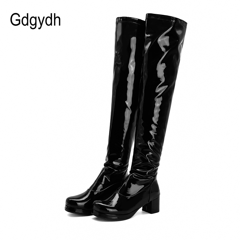 Gdgydh Patent Leather Waterproof Over The Knee Boots Women Candy Colors Green Yellow Fashion Style Long Boots With High Heels