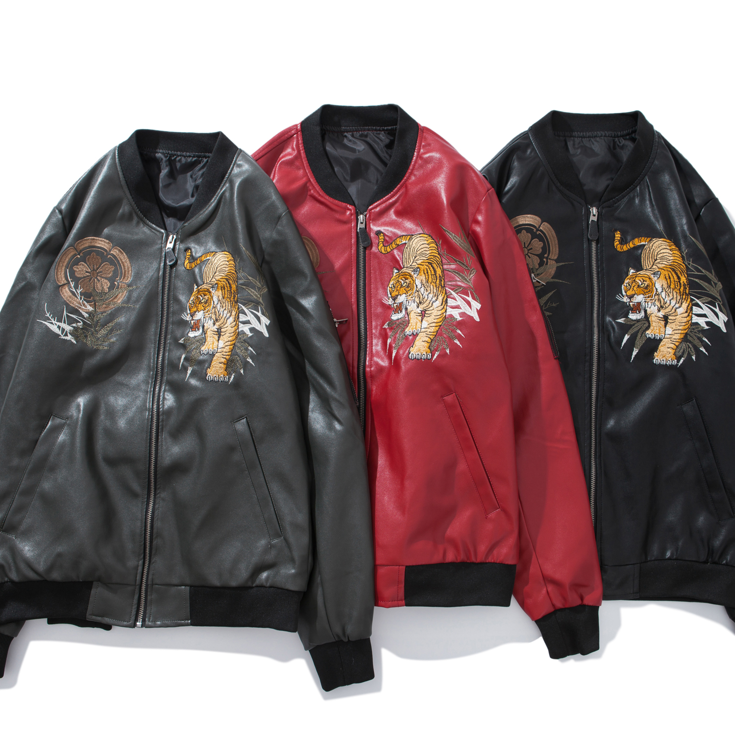 NEW Mens Leather Jacket coat Sukajan Japanese Embroidered Beast Tiger Outwear