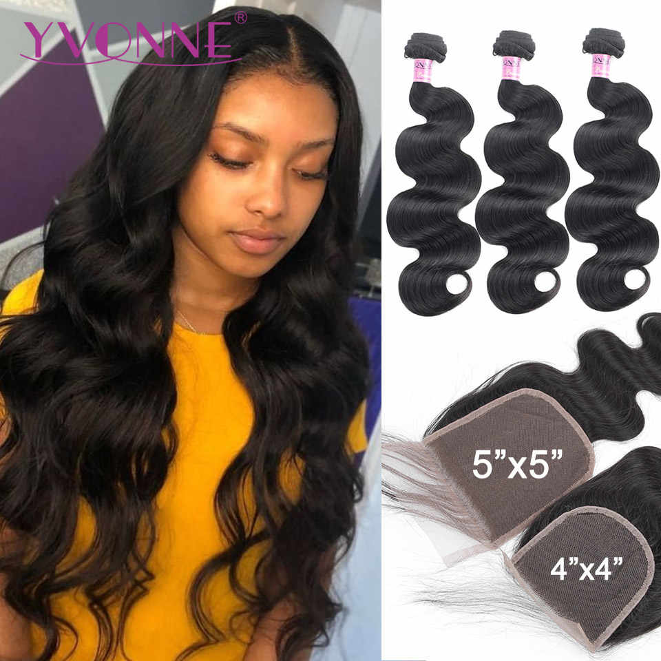 Yvonne Body Wave Bundles with Closure Brazilian Virgin Hair Weave 3/4 Bundles With Closure 4x4/5x5