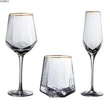 Creative Glass Wine Glasses Home Hammered Goblet Red Wine Glass Diamond Champagne Glass Wine Glasses