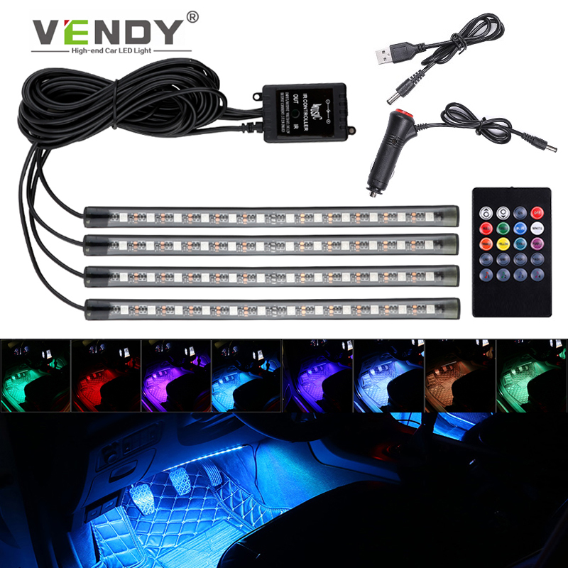 Auto LED RGB Interior Atmosphere Strip Light Decorative Foot Lamp With USB Wireless Remote Music Control Multiple Modes For Car