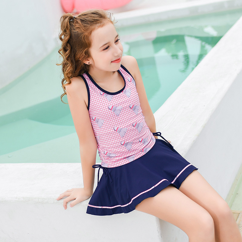 2019 New Style Hot Sales KID'S Swimwear Split Skirt-Athletic Plaid Stripes Hipster Big Kid GIRL'S Swimsuit