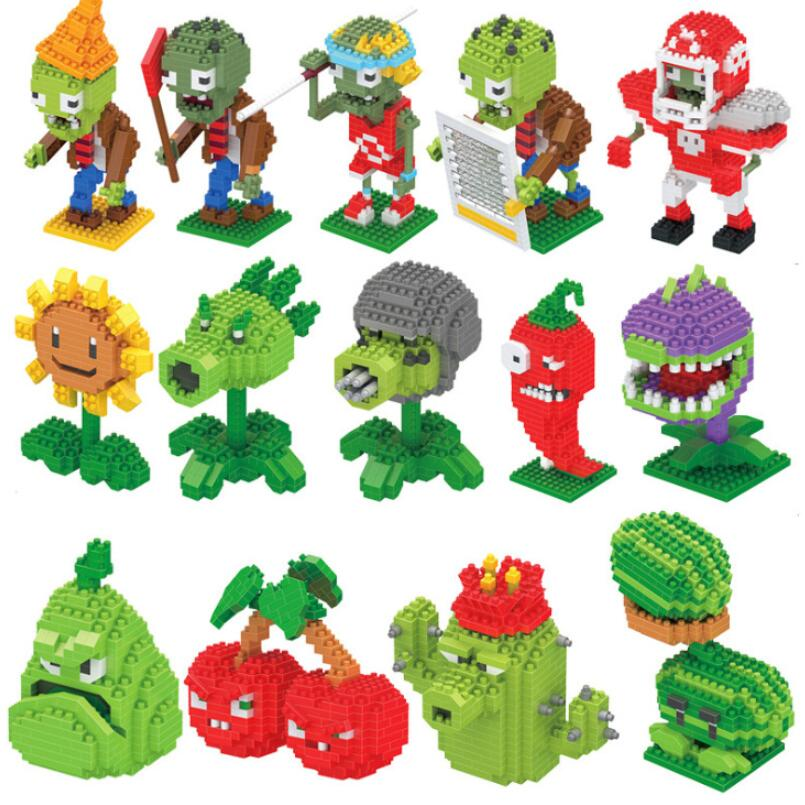 Plants Vs Zombies Figures Building Blocks Action Figures LegoED Role Play Battles Learning Toys For Children Collection Toys